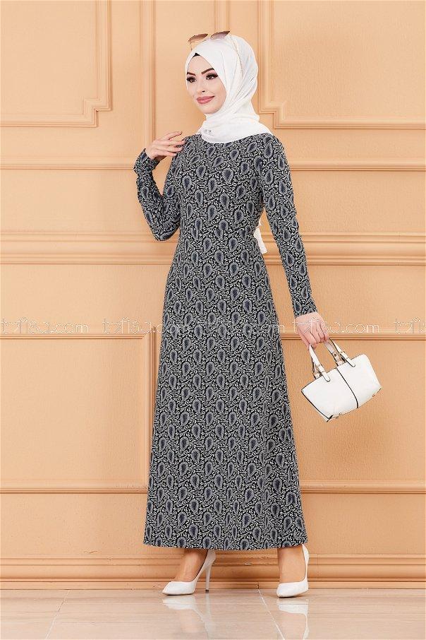 فستان لون كحلي 8803
