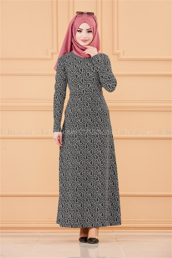 فستان لون اسود 8803