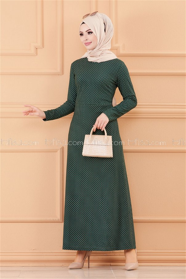 فستان لون زمرد 8806