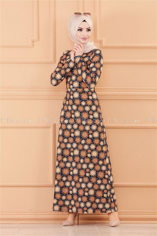 فستان لون بني 8807
