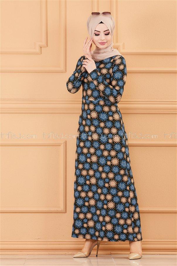 فستان لون ازرق داكن 8807