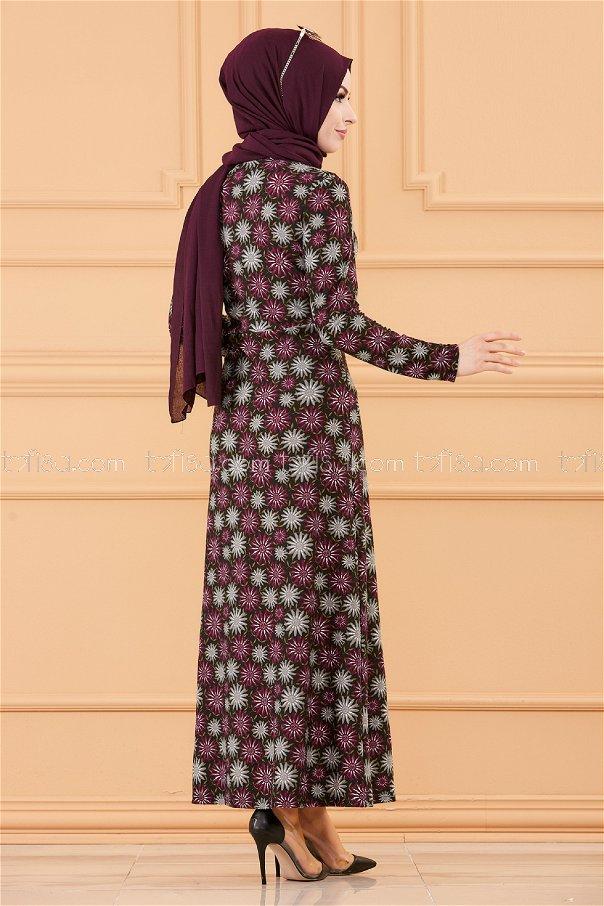 فستان لون موف 8807