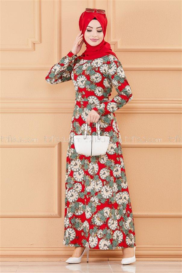 فستان لون احمر 8809