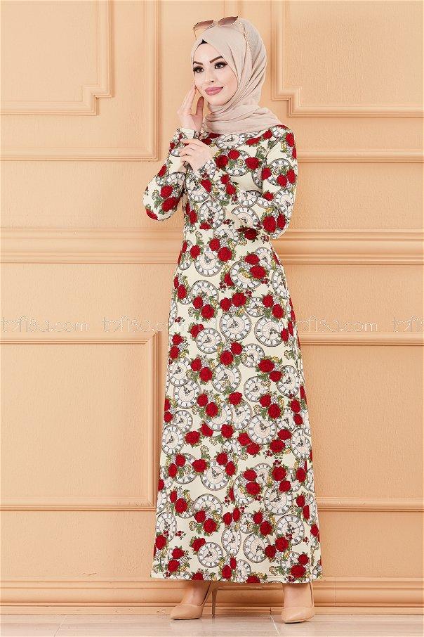 فستان لون سكري 8809
