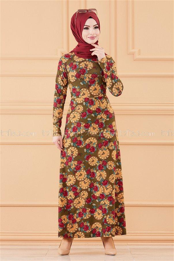 فستان لون زيتي 8809