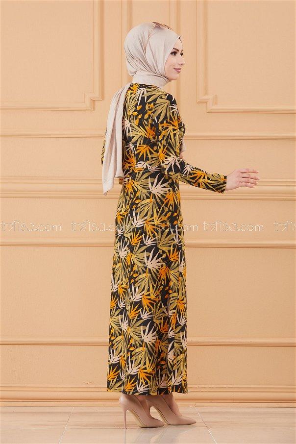 فستان لون خردل 8810