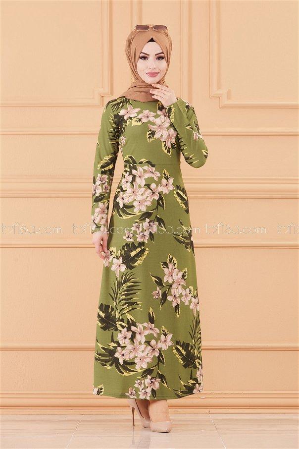 فستان لون زيتي 8812