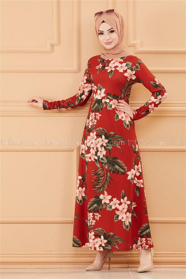 فستان لون قرميد 8812