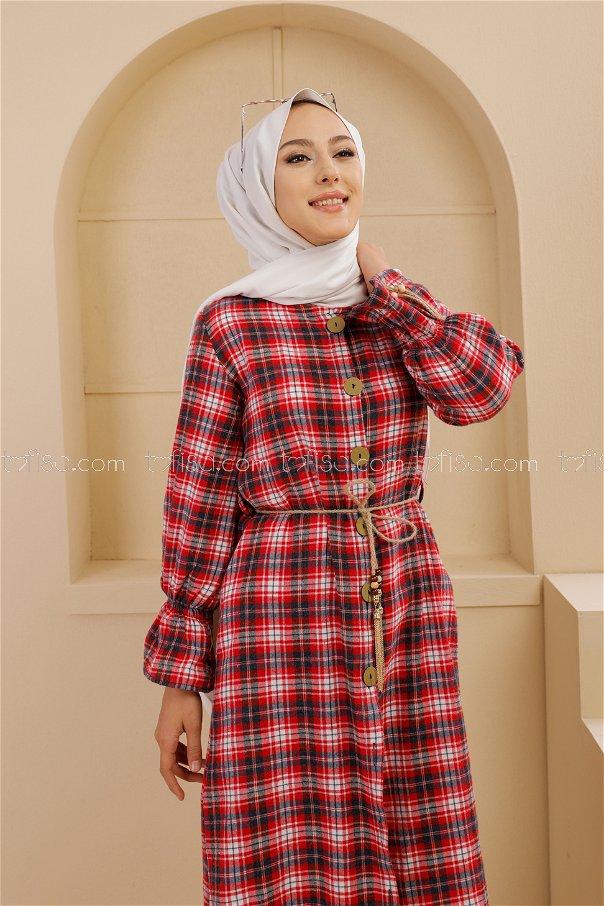 فستان ب حزام لون كحلي و احمر 9101