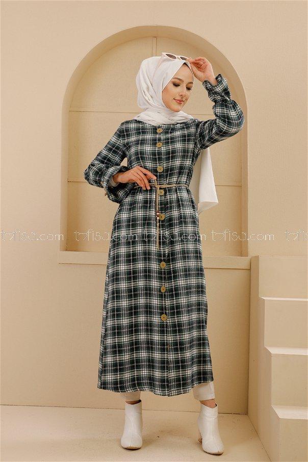 فستان ب حزام لون اسود و زمرد 9101