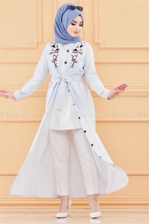 فستان مطرز لون ازرق فاتح 9136