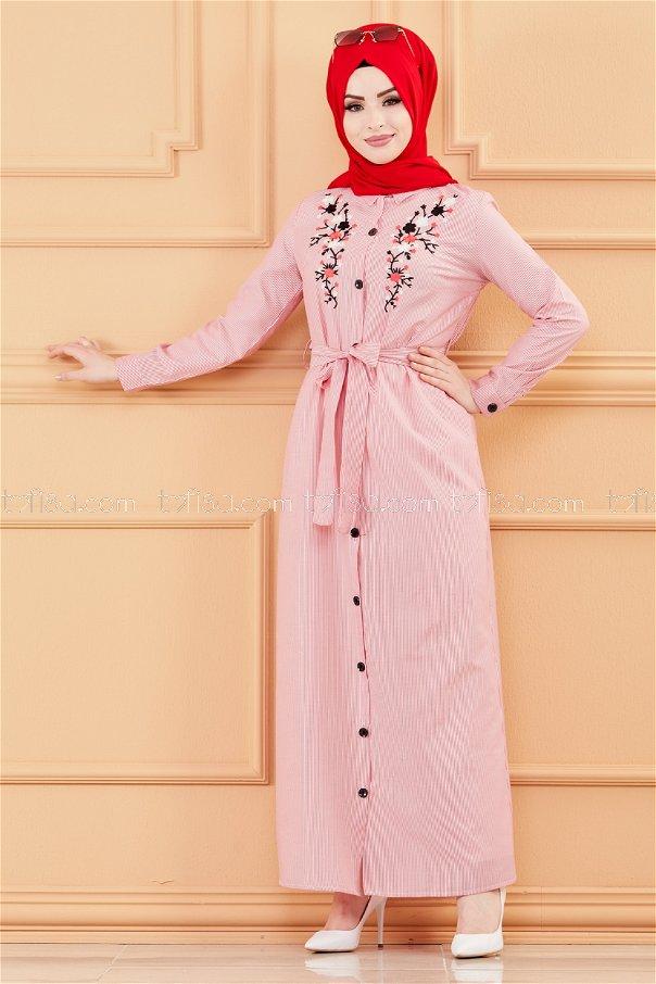 فستان مطرز لون احمر 9136