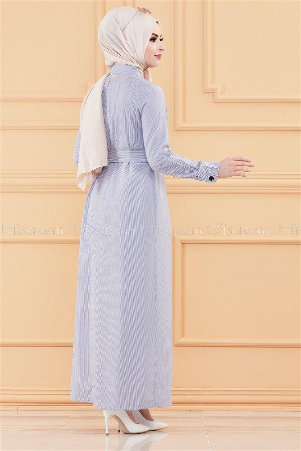 فستان مطرز لون ازرق 9136