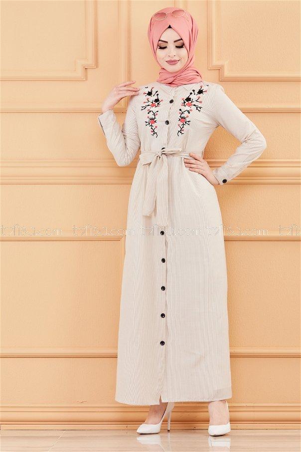 فستان لون بيج 9136