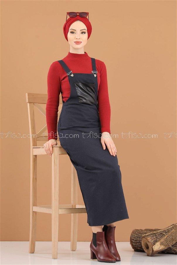 Askılı Elbise Lacivert - 3006