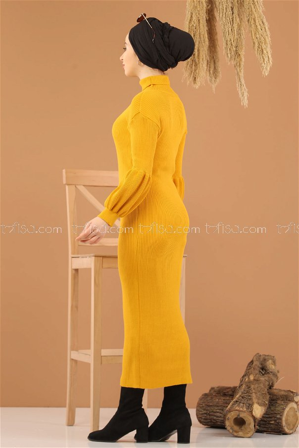 Balon Kol Triko Elbise Hardal - 8278