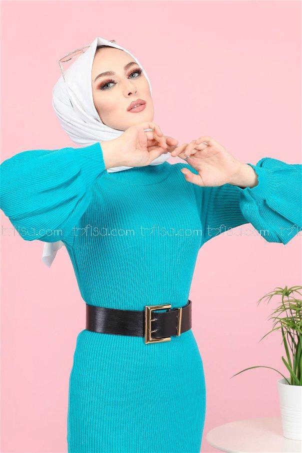 Balon Kol Triko Elbise Mint - 8278