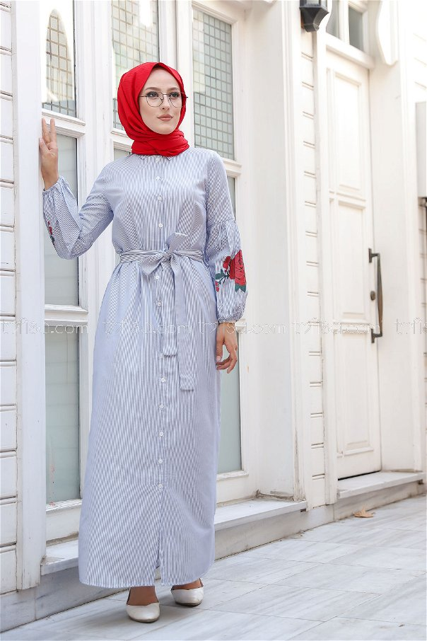 Baskılı Elbise Mavi - 3017