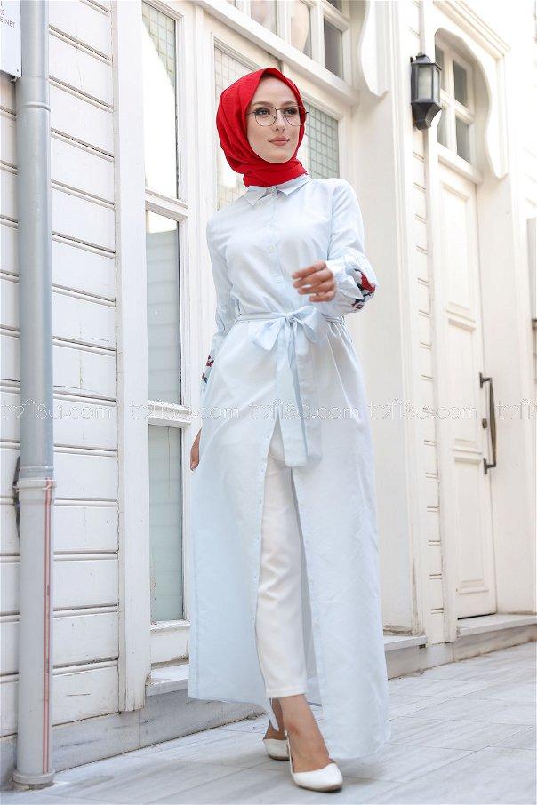 Baskılı Elbise AcıkMavı - 3017