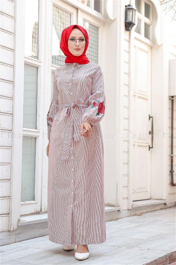Baskılı Elbise Bordo - 3017