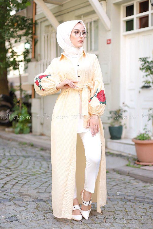 Baskılı Elbise Hardal - 3017