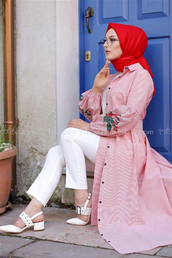 Baskılı Elbise Kırmızı - 3017