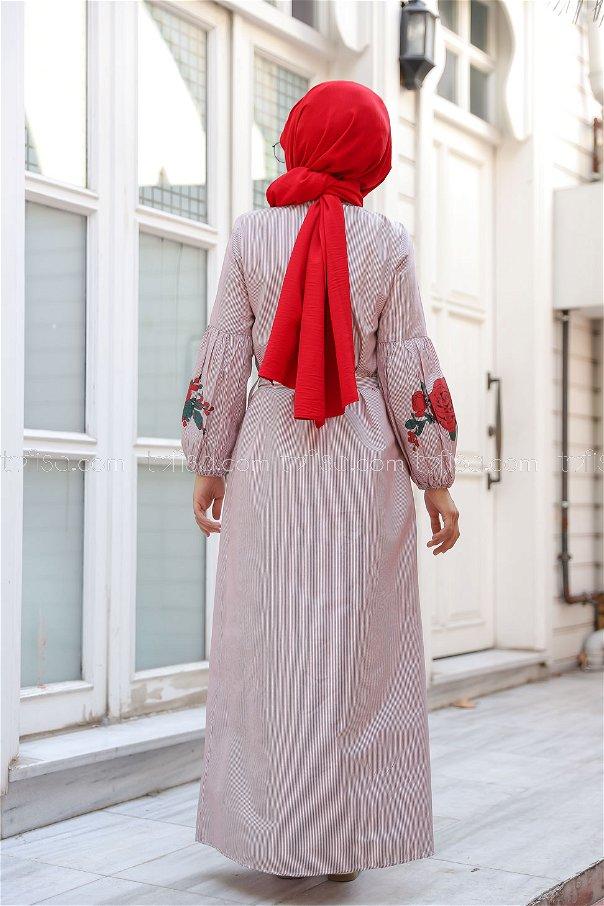 Baskılı Elbise Koyu Bordo - 3017