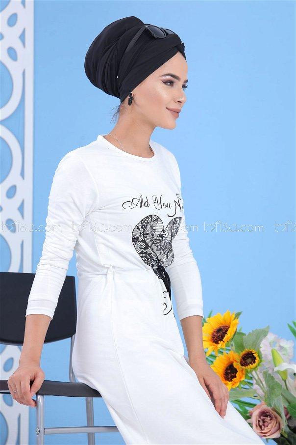 Baskılı Elbise - Krem Rengi 03 5142