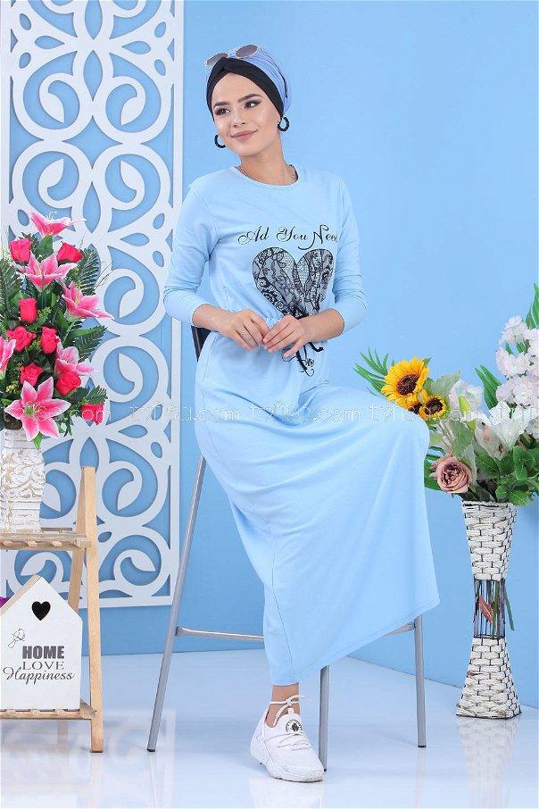 Baskılı Elbise - Mavi 03 5142