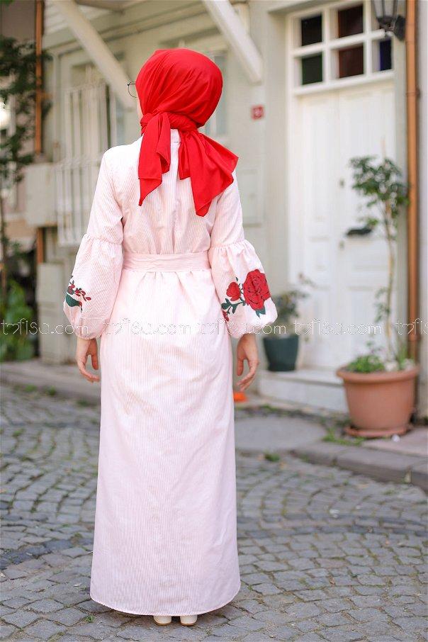 Baskılı Elbise Pudra - 3017