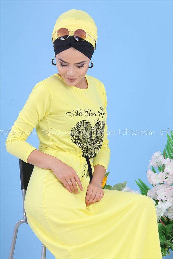 Baskılı Elbise - Sarı 03 5142