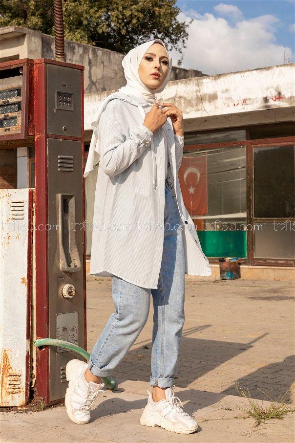 Baskılı Kapşonlu Tunik AcıkMavı - 3279