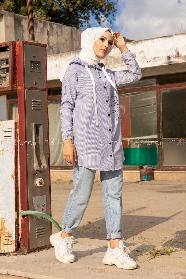 Baskılı Kapşonlu Tunik Mavi - 3279
