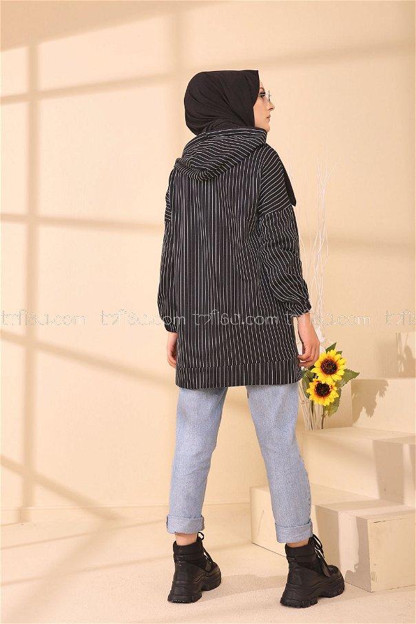Baskılı Kapşonlu Tunik Siyah - 4157