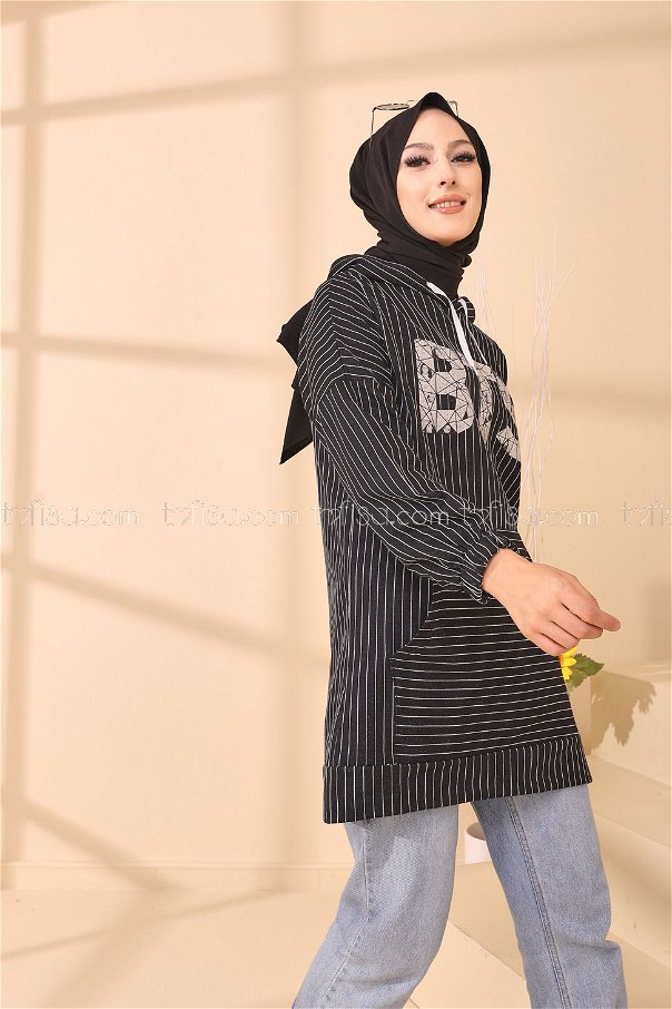 Baskılı Kapşonlu Tunik Siyah - 4158