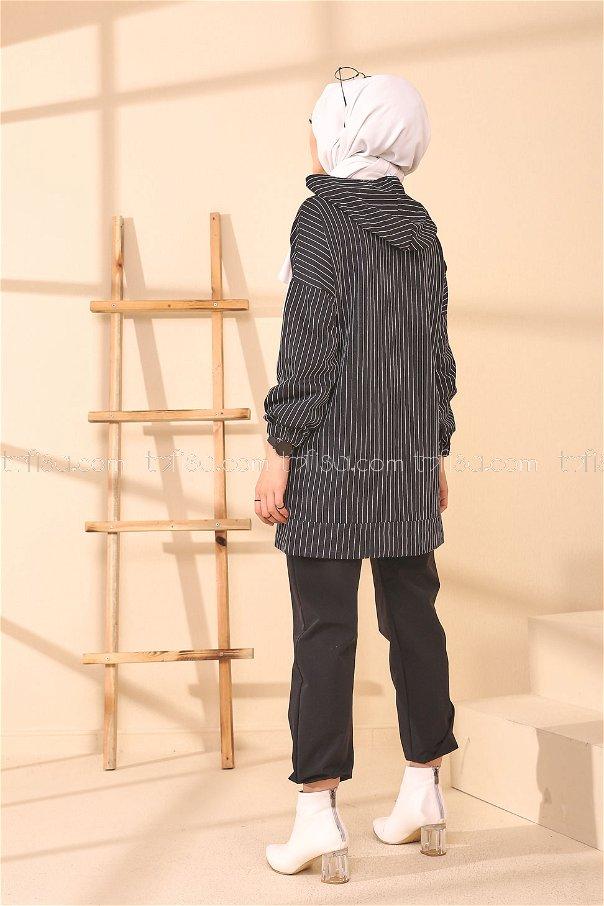 Baskılı Kapşonlu Tunik Siyah - 4159