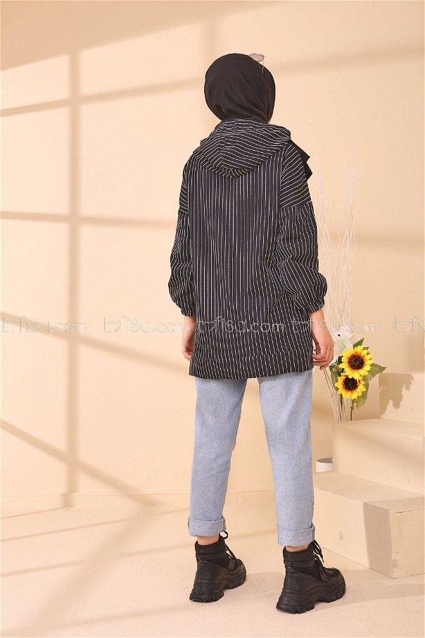 Baskılı Kapşonlu Tunik Siyah - 4160