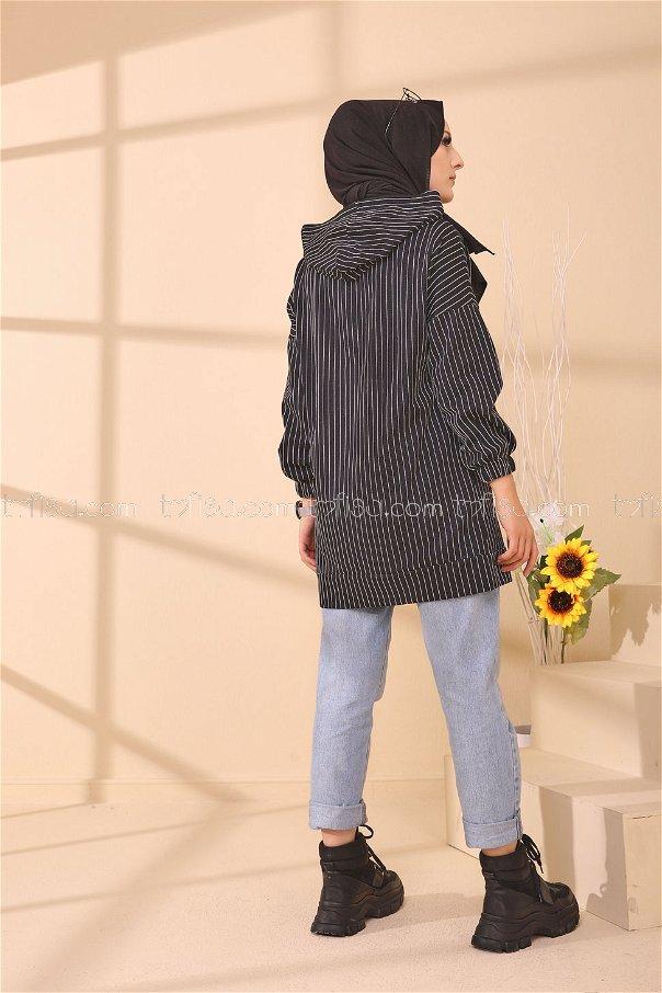 Baskılı Kapşonlu Tunik Siyah - 4161