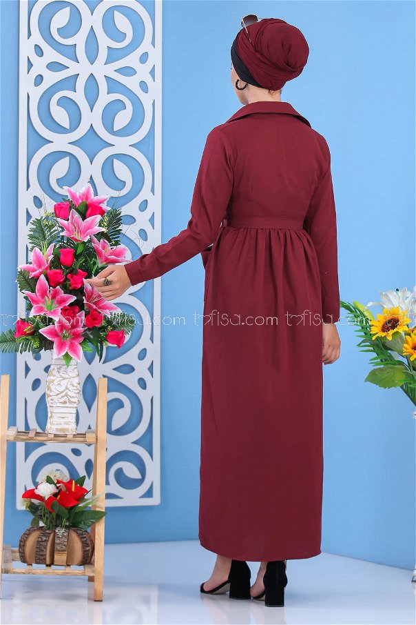 Belted Cape Claret red- 02 6774