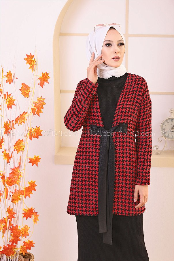 Belted Coat Claret Red - 3419