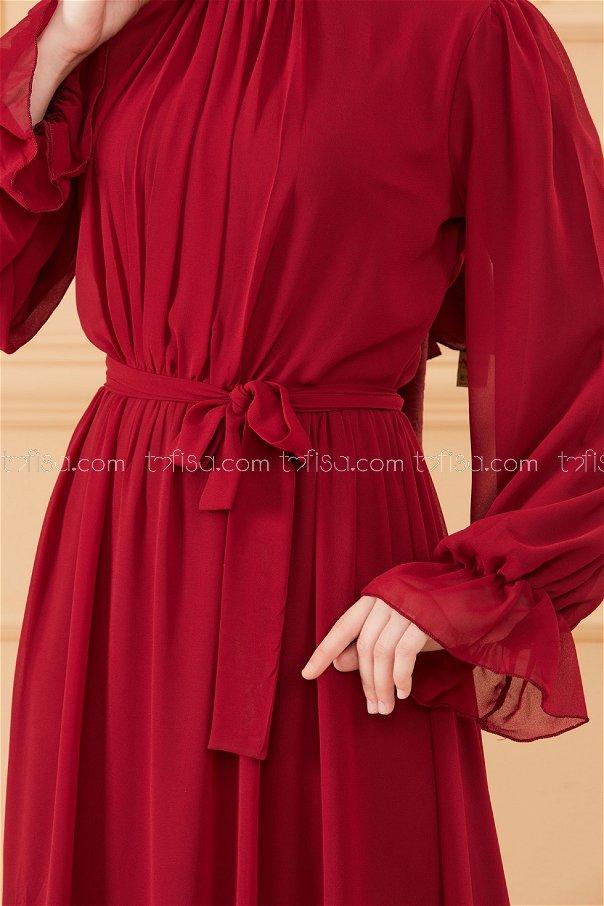 Belted Dress CLARET RED - 20170