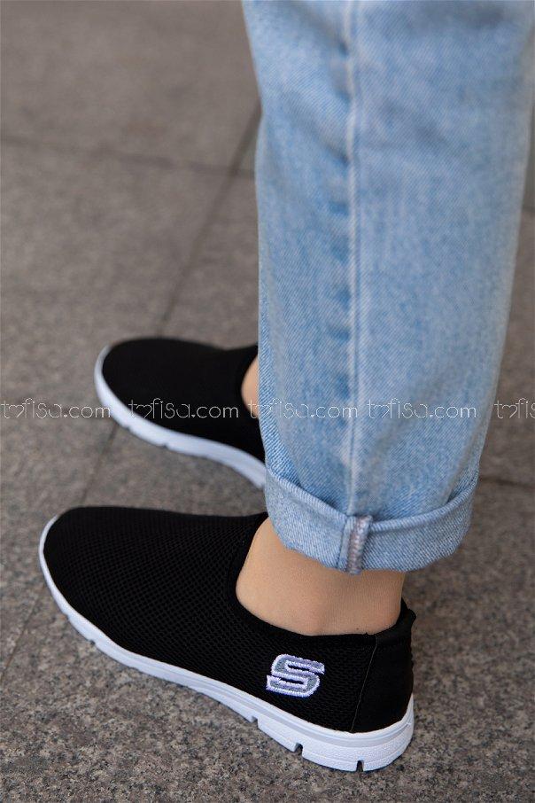Bez Ayakkabı BEYAZ SIYAH - 20135