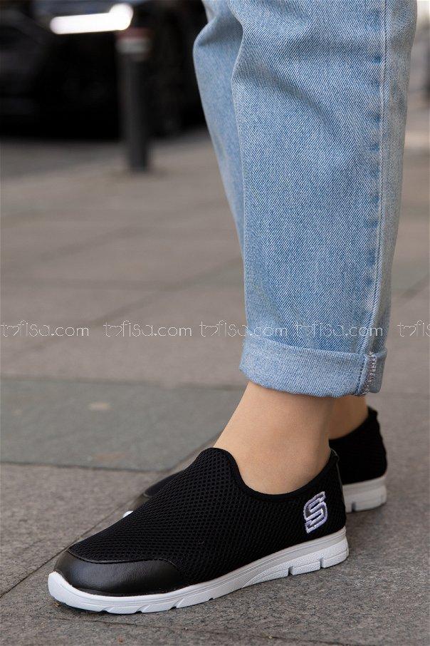 Bez Ayakkabı SIYAH BEYAZ - 20135