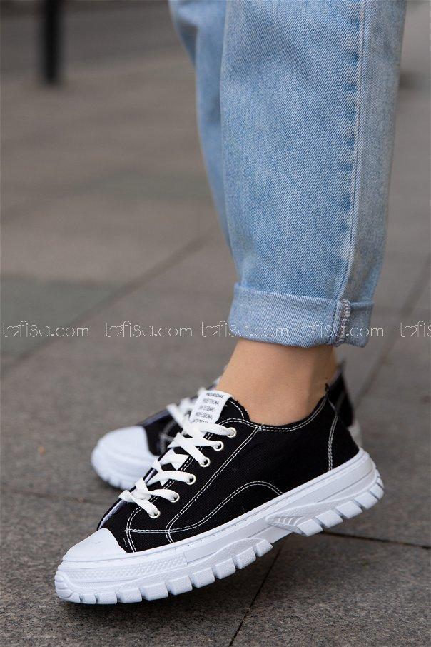 Bez Ayakkabı SIYAH BEYAZ - 20139