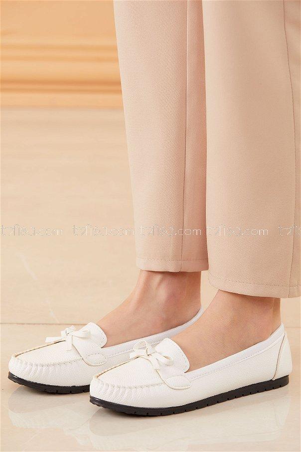 Bıyıklı Model Babet Ayakkabı BEYAZ - 20524