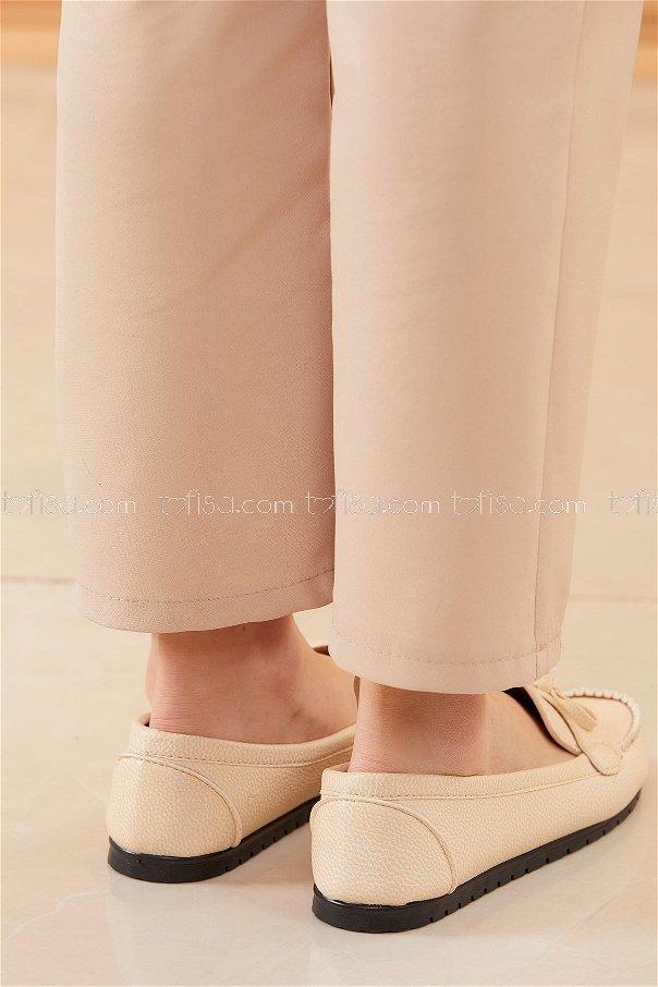 Bıyıklı Model Babet Ayakkabı KREM - 20524