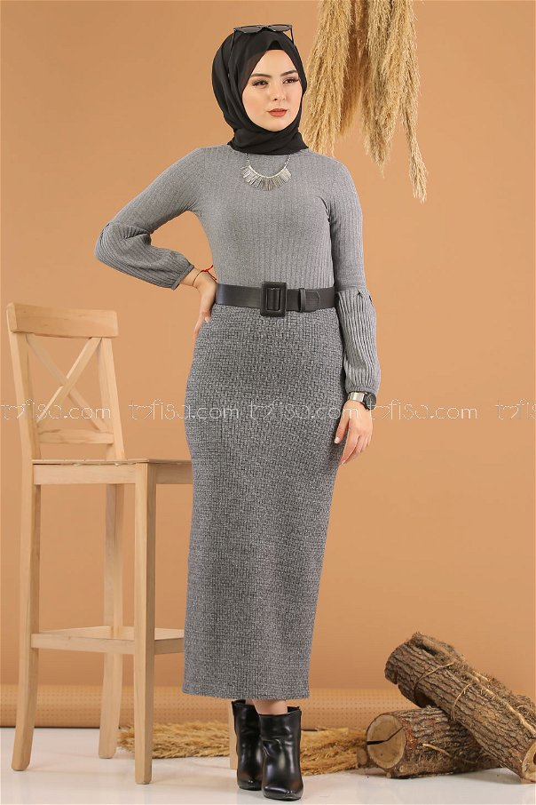 Blouse Skirt Combine Anthracite gray - 8253