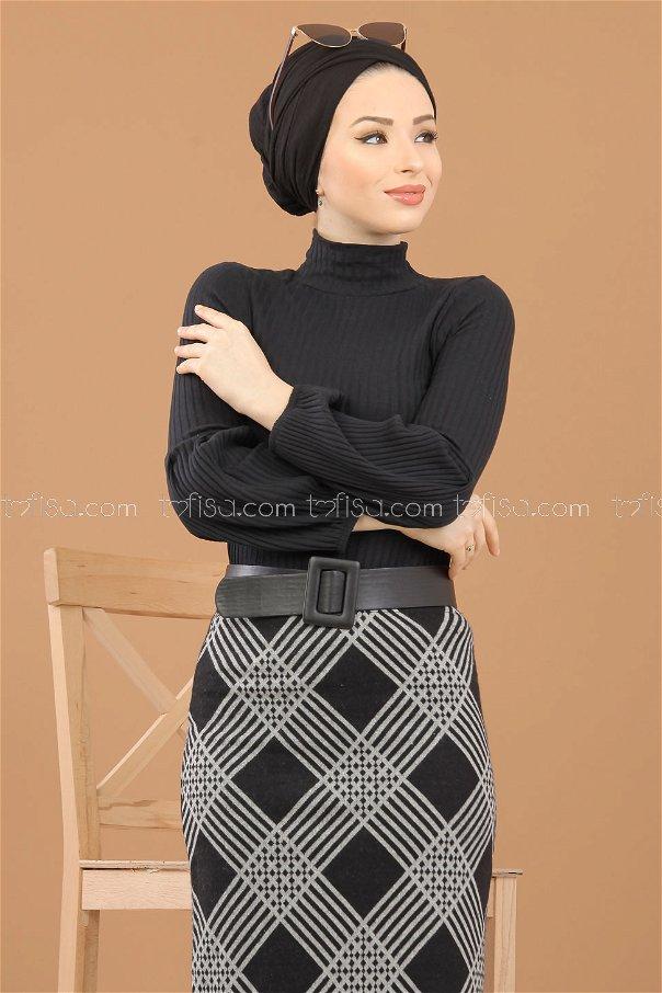 Blouse Skirt Combine black - 8309