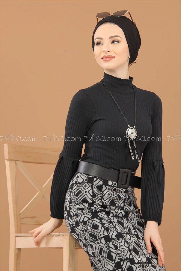 Blouse Skirt Combine black gray - 8309