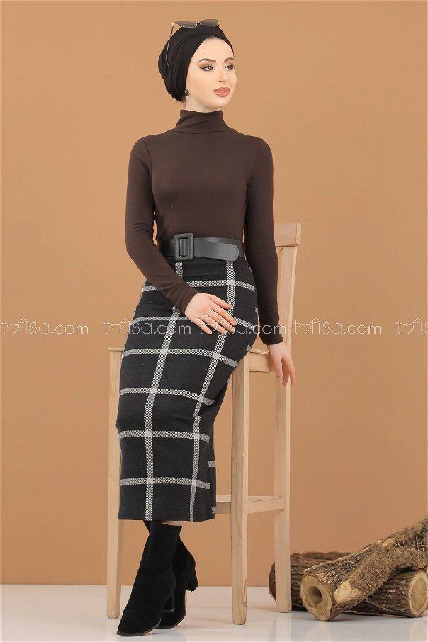 Blouse Skirt Combine brouwn - 8307